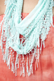 Magic Scarf Victorian Lace Infinity Scarf - Front full body