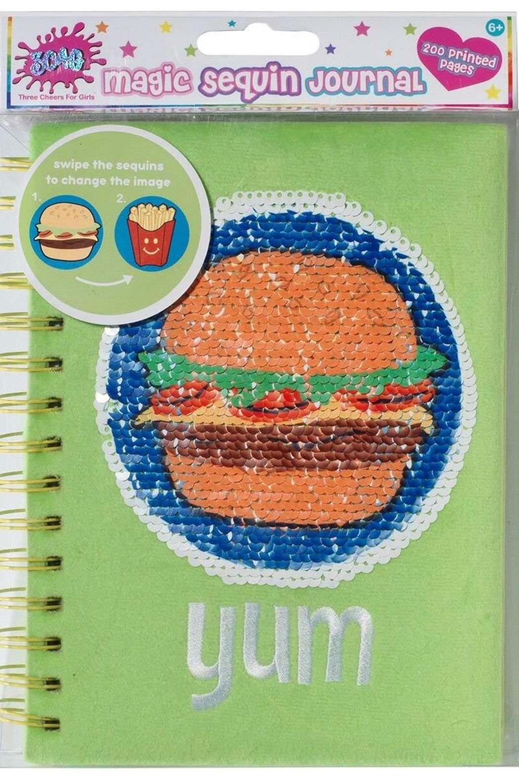 Three Cheers For Girls Magic Sequin Journal-Burger - Main Image