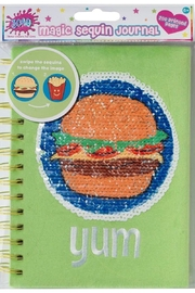 Three Cheers For Girls Magic Sequin Journal-Burger - Front cropped