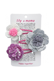 Lily & Momo Magic Sparkle Flower Hair Clip Trio - Front cropped