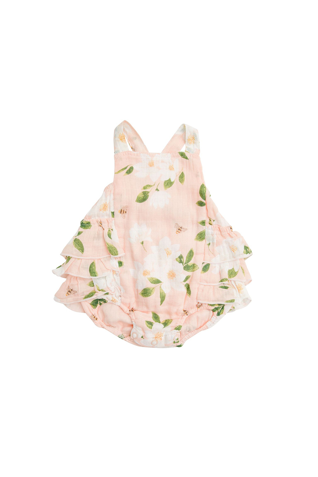 Angel Dear Magnolia Muslin Ruffle Sunsuit - Front Cropped Image