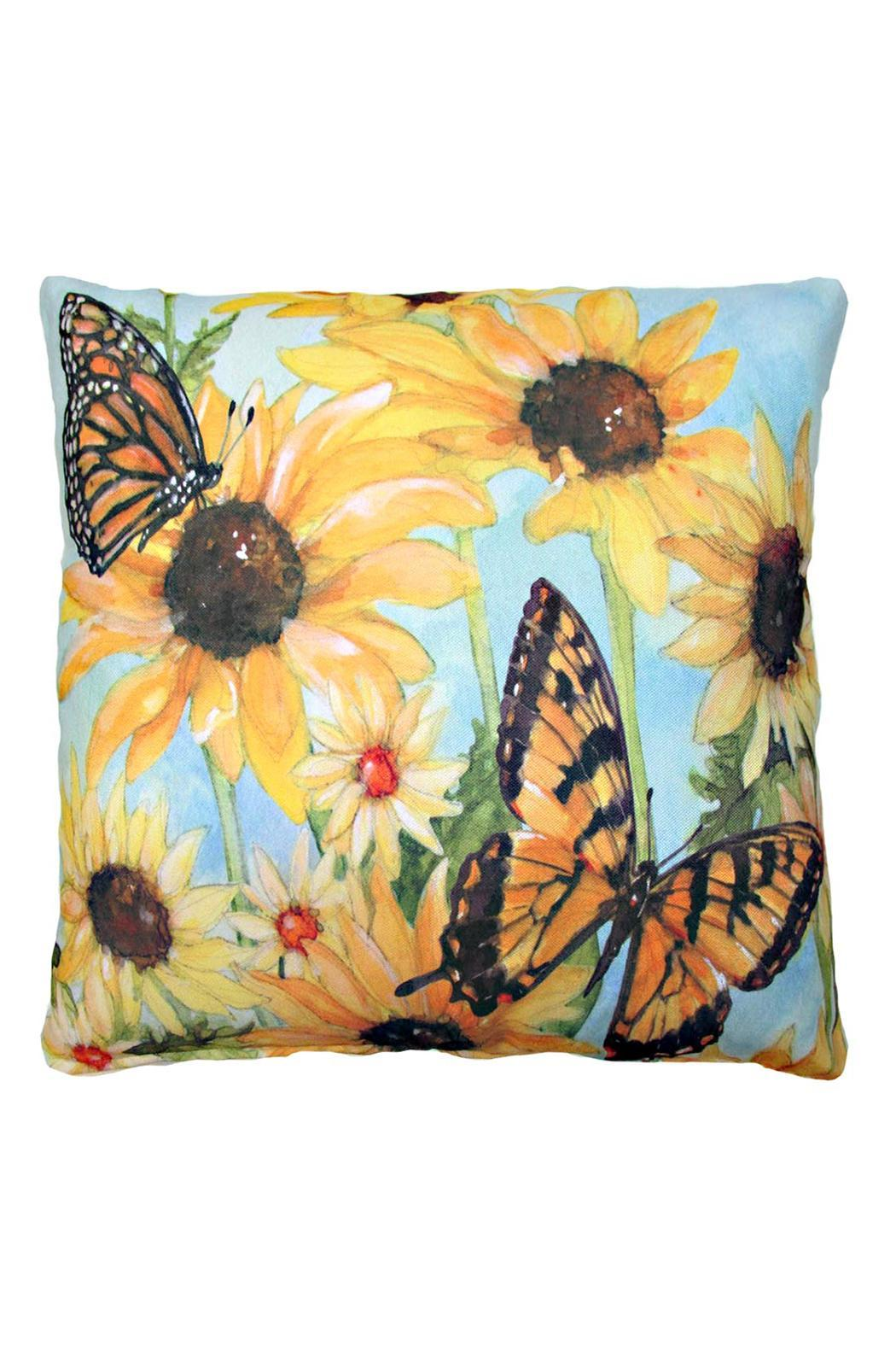 Magnolia Casual Butterflies Blossoms Pillow - Main Image