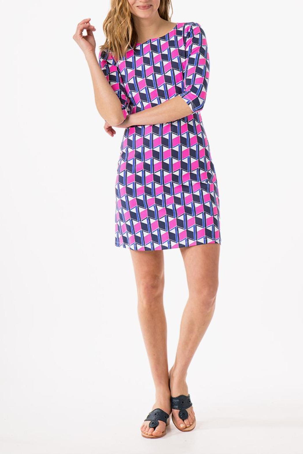 Mahi Gold Bimini Print Dress - Back Cropped Image