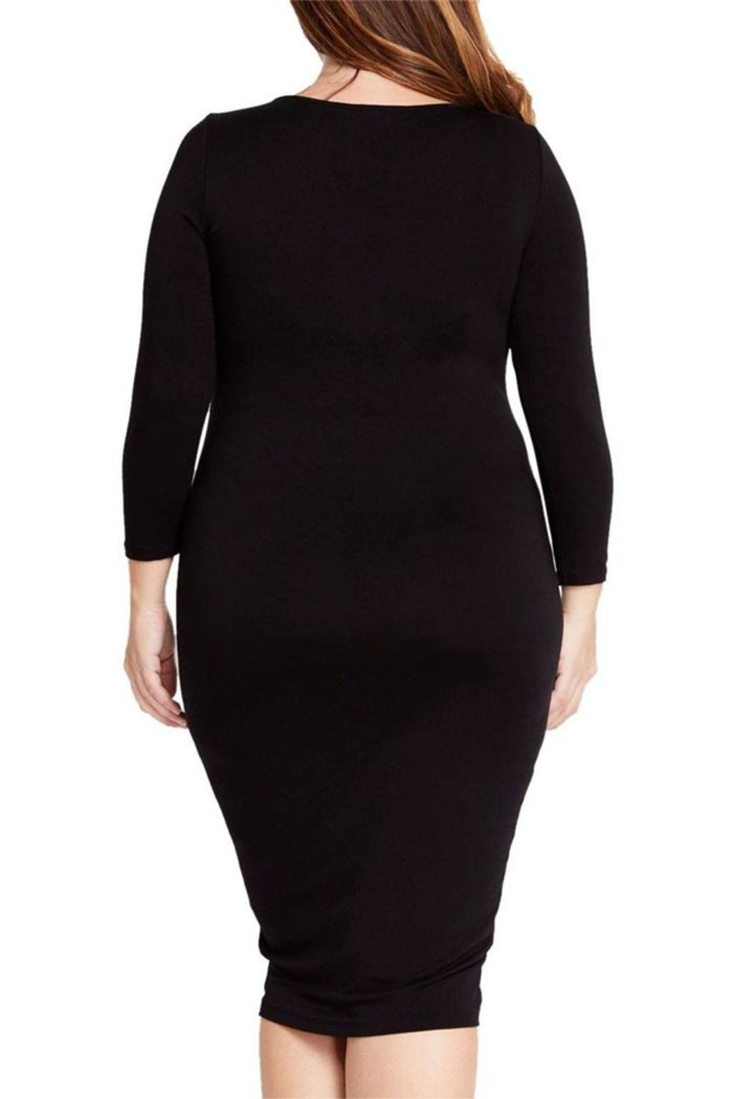 Mai Tai Black Fitted Dress - Side Cropped Image
