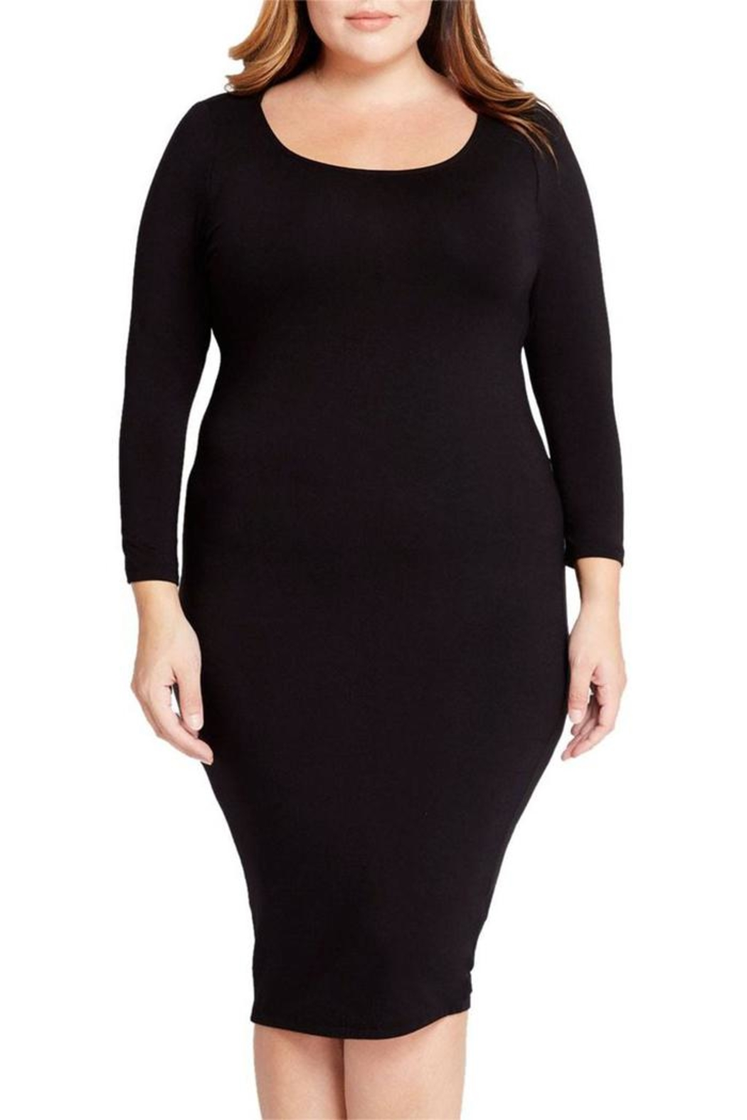 Mai Tai Black Fitted Dress - Front Full Image