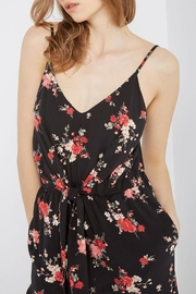 Mai Tai Black Floral Jumpsuit - Front full body