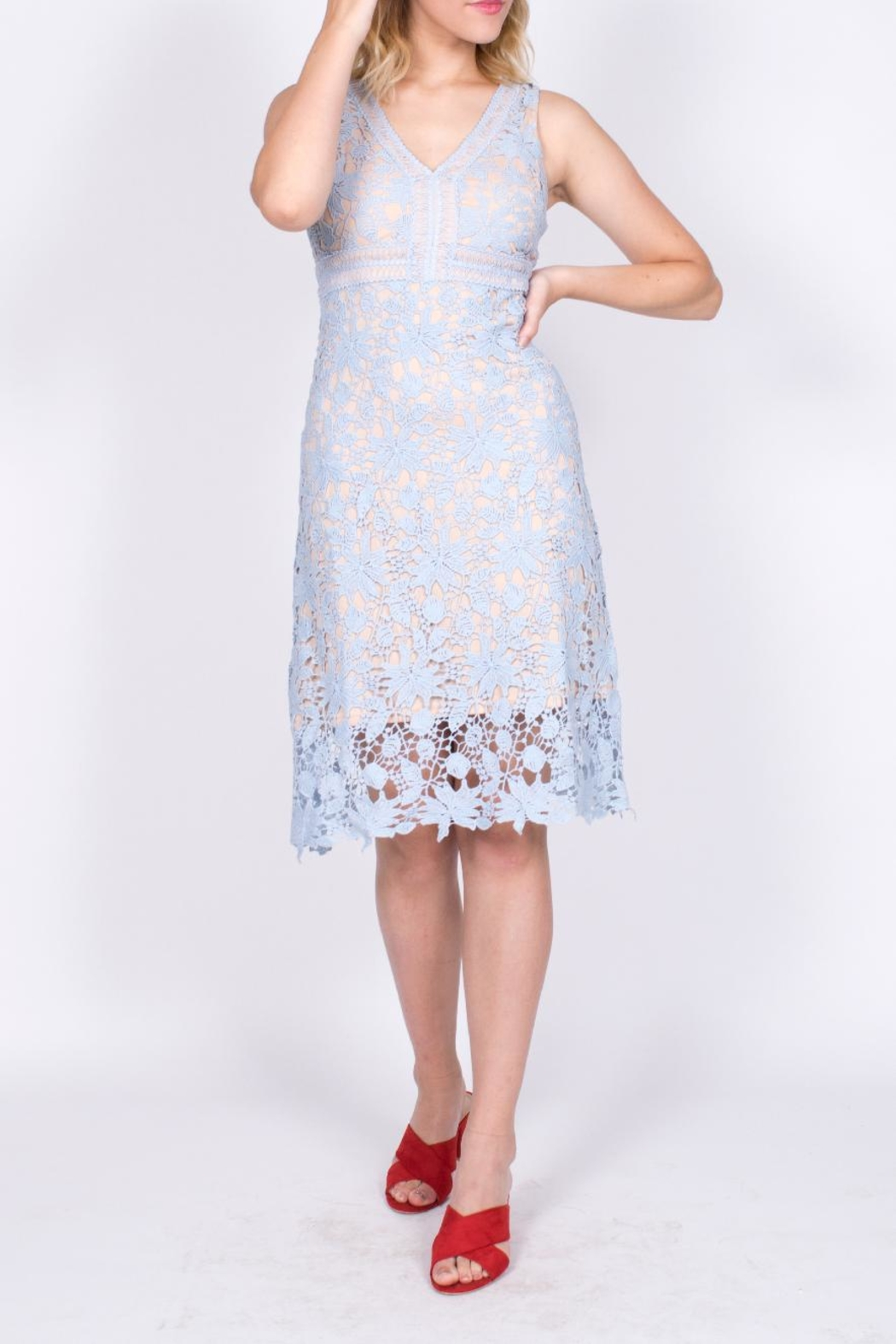 Mai Tai Blue Lace Dress - Front Full Image