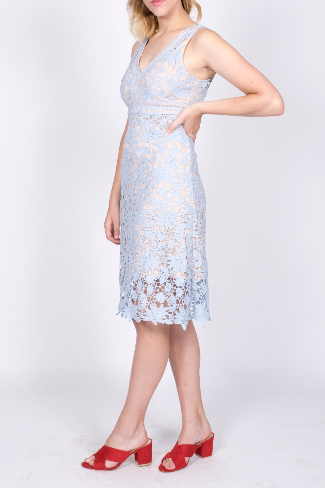 Mai Tai Blue Lace Dress - Side Cropped Image