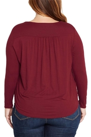 Mai Tai Burgundy Lace Up Top - Side cropped