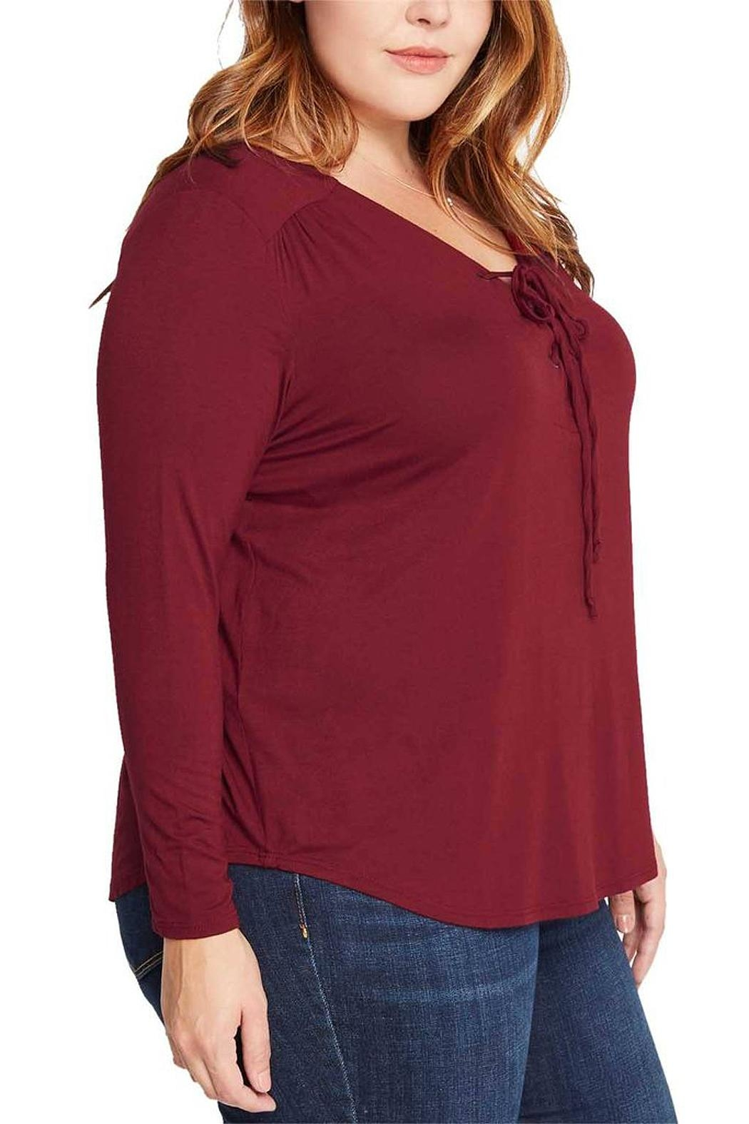 Mai Tai Burgundy Lace Up Top - Front Full Image