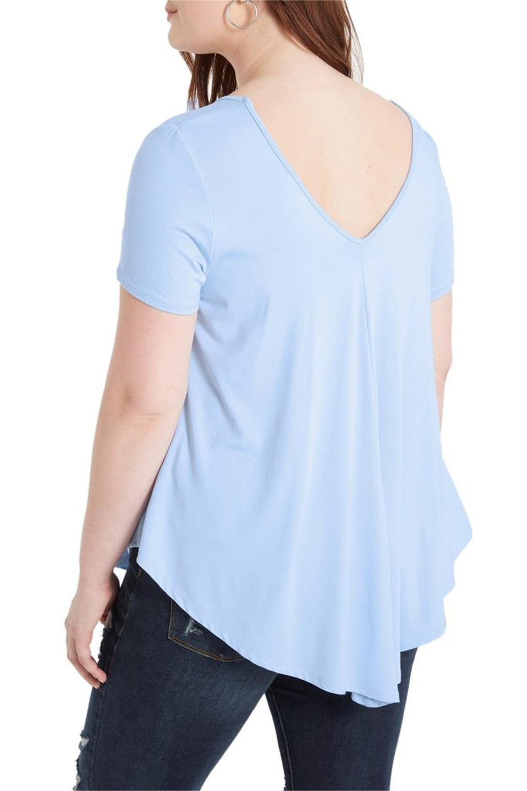 Mai Tai Dusty Blue V Neck - Back Cropped Image