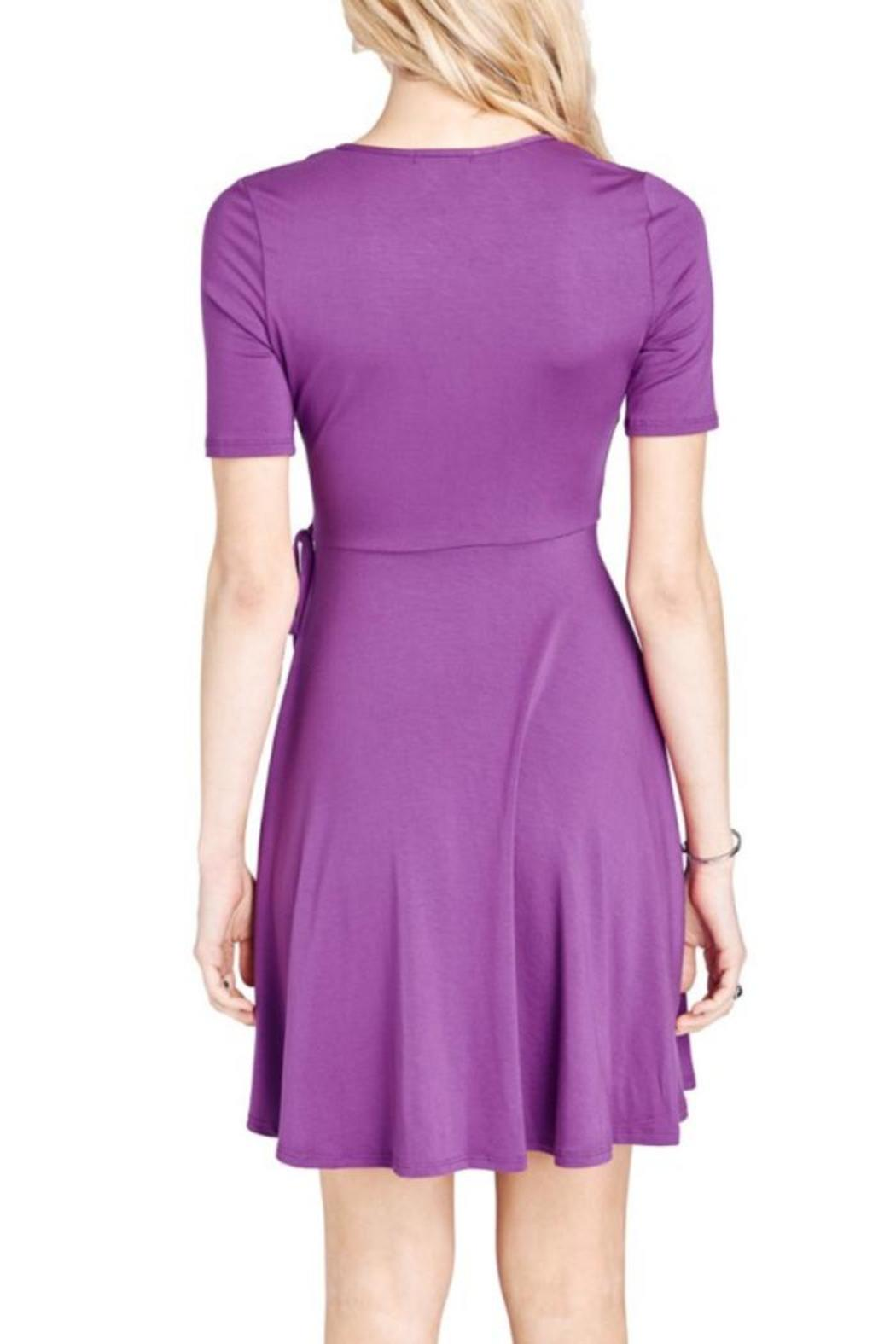 Mai Tai Purple Wrap Dress - Side Cropped Image