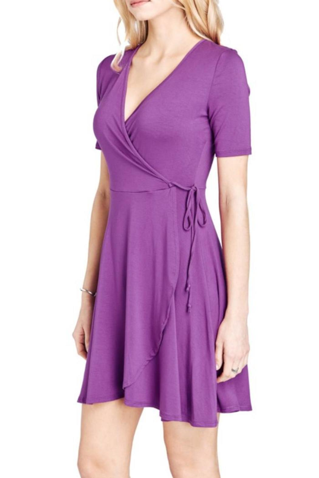 Mai Tai Purple Wrap Dress - Back Cropped Image