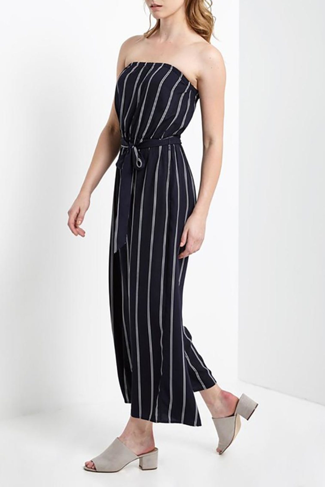 Mai Tai Strapless Striped Jumpsuit - Front Full Image