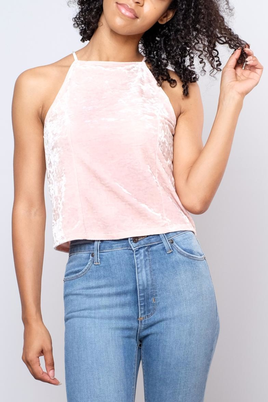 Mai Tai Velvet High Neck Top - Front Cropped Image
