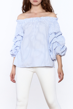 Main Strip Stripe Balloon Sleeve Top - Product List Image