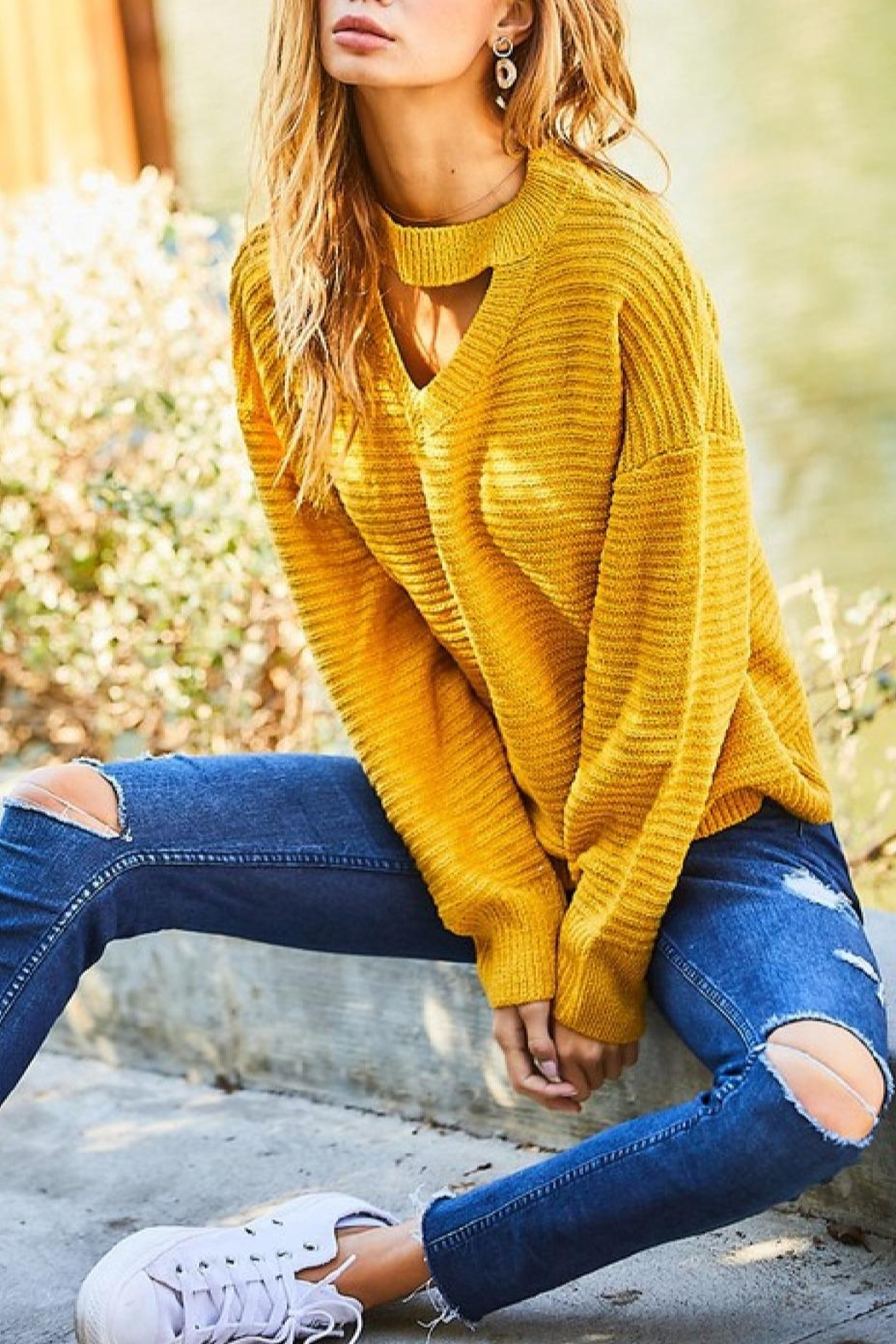 Main Strip Aletta Mustard Sweater - Main Image