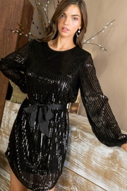 Main Strip Black Sequin Dress - Front cropped