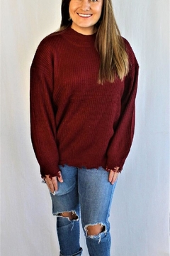 Main Strip Burgundy Maroon Sweater - Product List Image