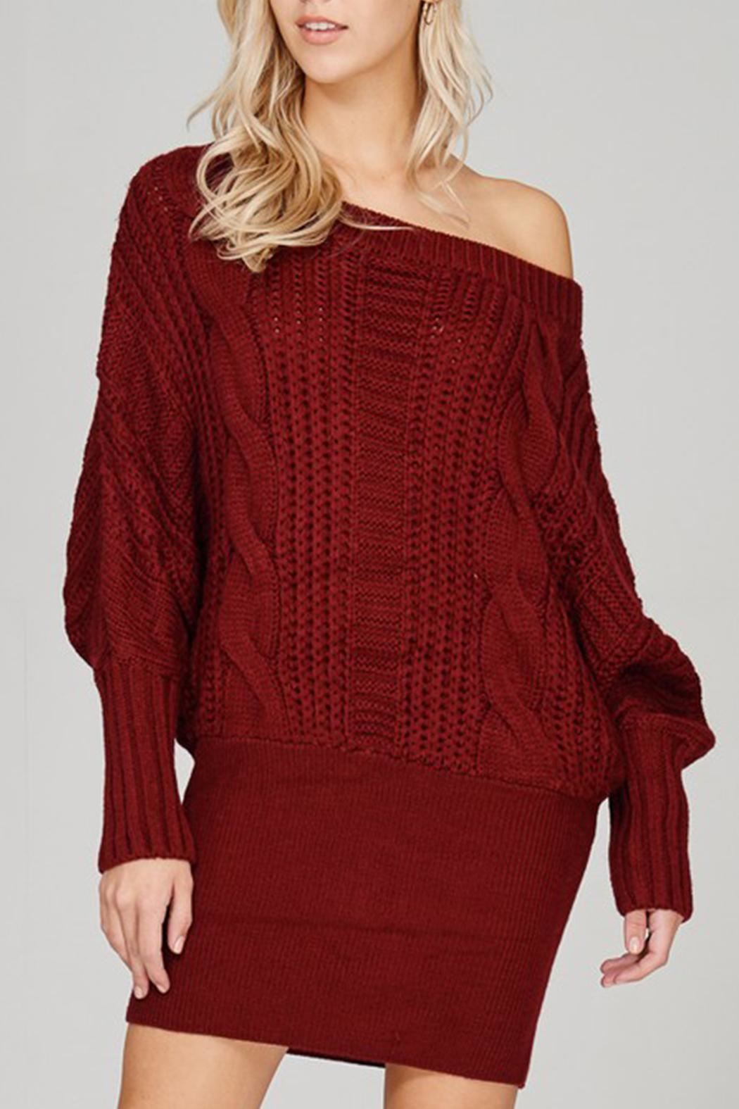 Main Strip Cable-Knit Sweater Mini-Dress - Front Full Image