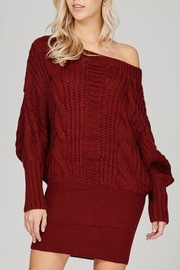 Main Strip Cable-Knit Sweater Mini-Dress - Front full body