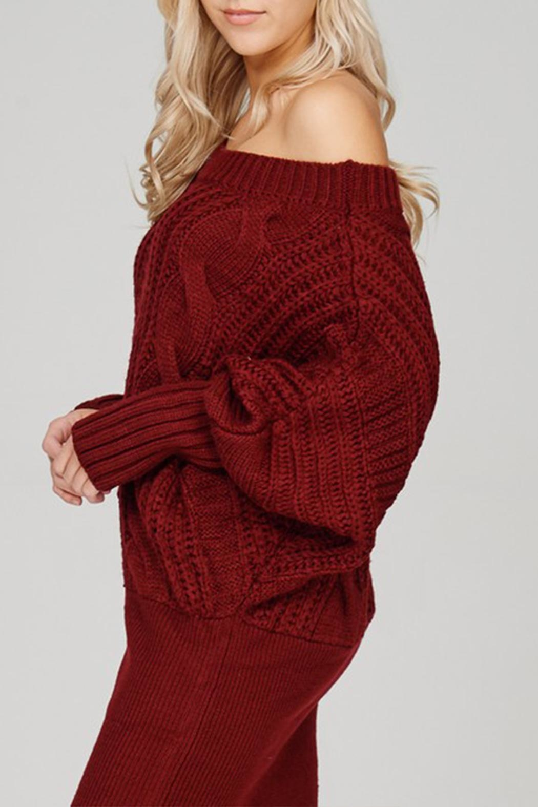 Main Strip Cable-Knit Sweater Mini-Dress - Front Cropped Image