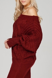Main Strip Cable-Knit Sweater Mini-Dress - Front cropped
