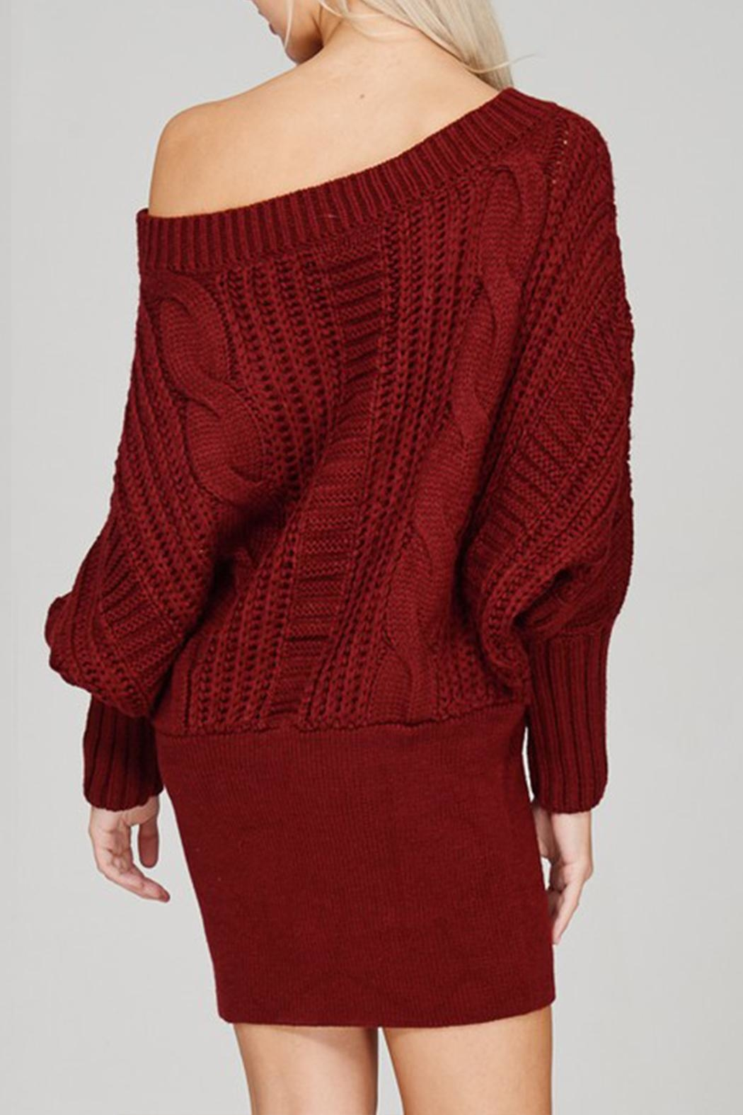 Main Strip Cable-Knit Sweater Mini-Dress - Side Cropped Image