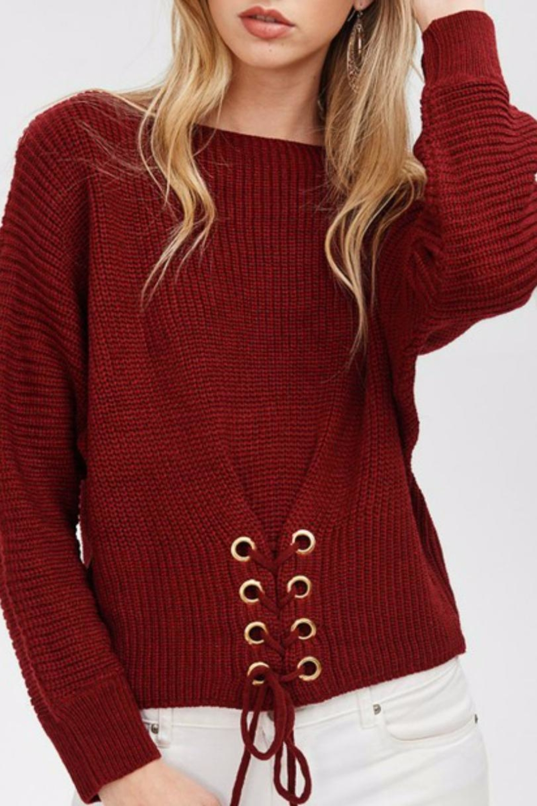 Main Strip Cinched Front Sweater - Main Image