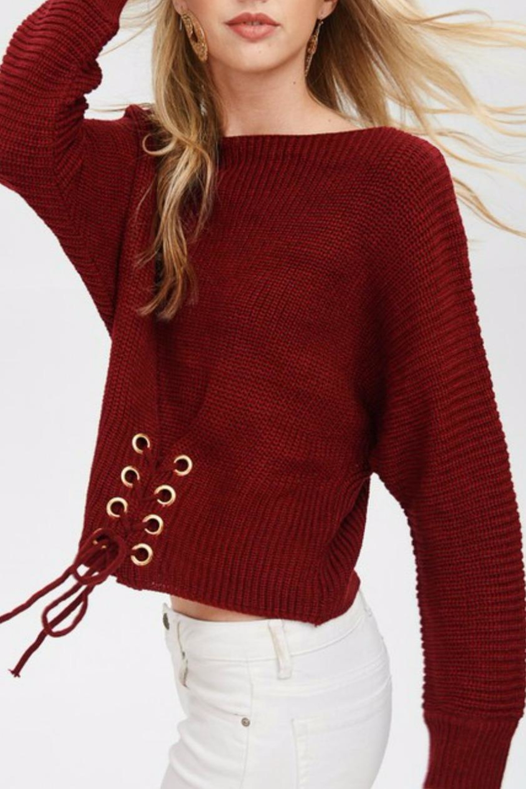 Main Strip Cinched Front Sweater - Side Cropped Image