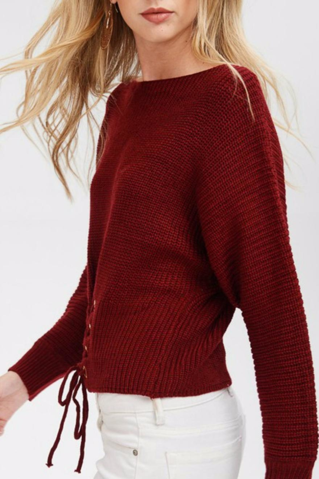 Main Strip Cinched Front Sweater - Front Full Image