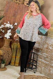 Main Strip Curvy Animal Print Top - Front full body