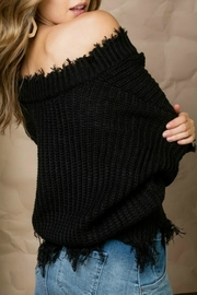 Main Strip Distressed Edge Sweater - Side cropped