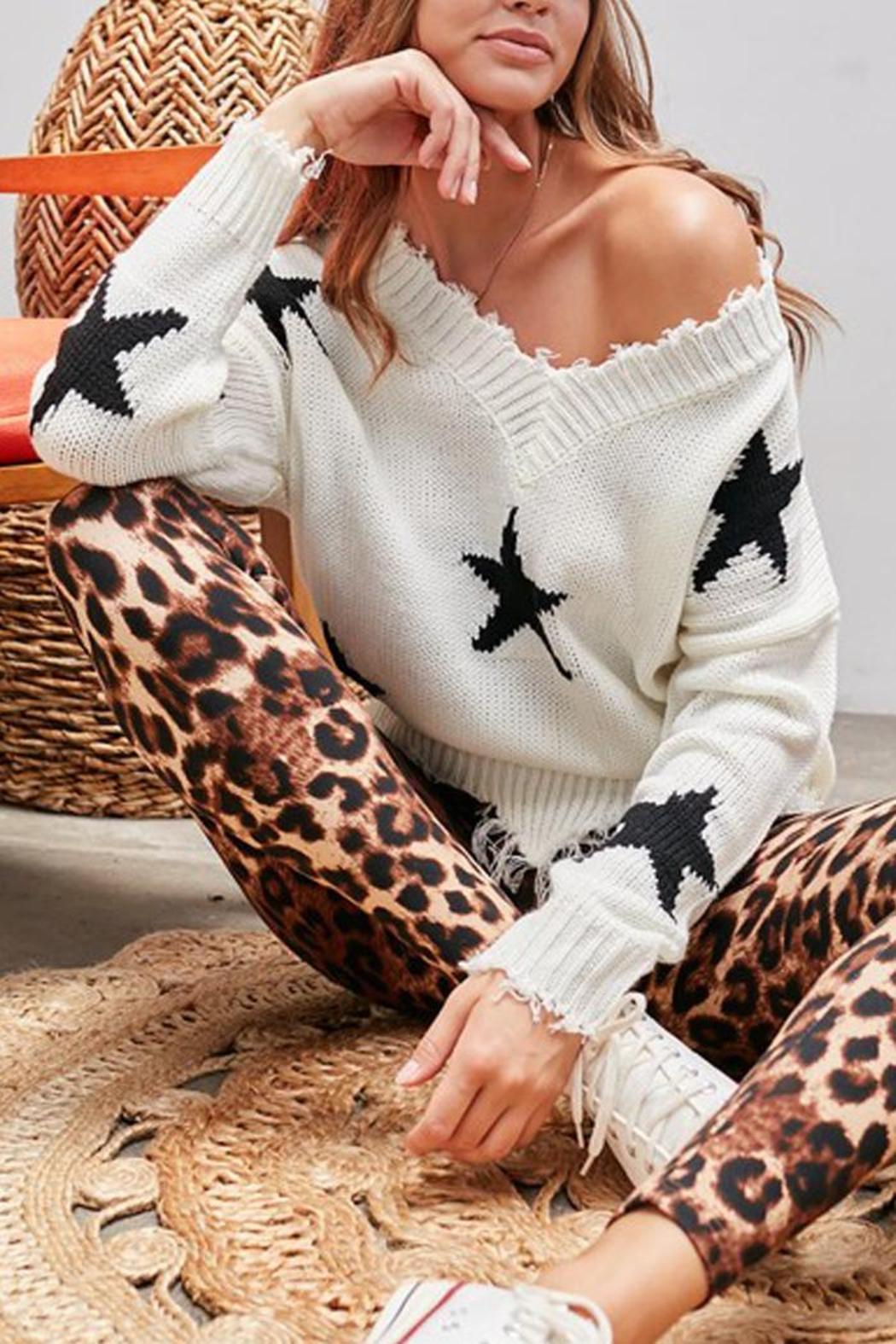 Main Strip Distressed Frayed Star Print V Neck Knit Sweater - Front Full Image