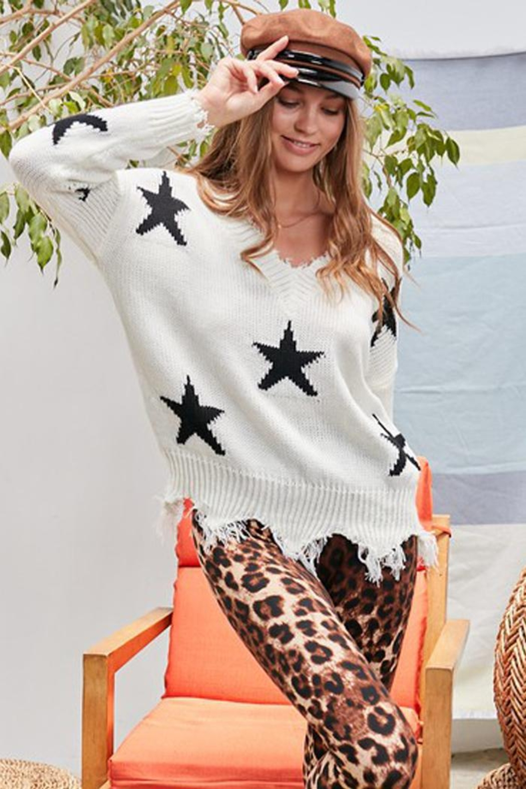 Main Strip Distressed Frayed Star Print V Neck Knit Sweater - Main Image