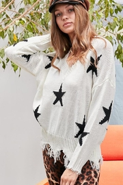 Main Strip Distressed Frayed Star Print V Neck Knit Sweater - Other