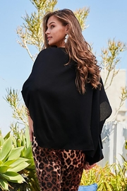 Main Strip Dolman Sleeves Front Waist Elastic Solid Top - Front full body