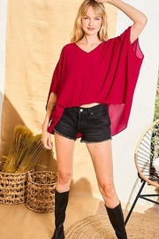 Main Strip Dolman Sleeves Front Waist Elastic Solid Top - Side cropped
