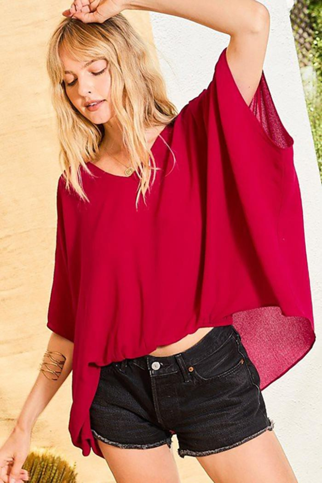 Main Strip Dolman Sleeves Front Waist Elastic Solid Top - Front Cropped Image
