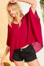 Main Strip Dolman Sleeves Front Waist Elastic Solid Top - Front cropped