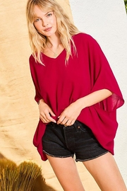 Main Strip Dolman Sleeves Front Waist Elastic Solid Top - Other