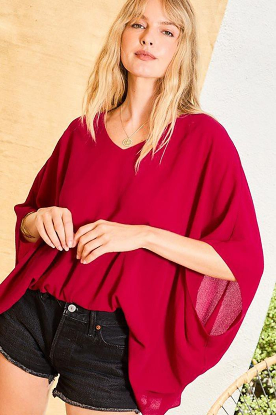 Main Strip Dolman Sleeves Front Waist Elastic Solid Top - Back Cropped Image