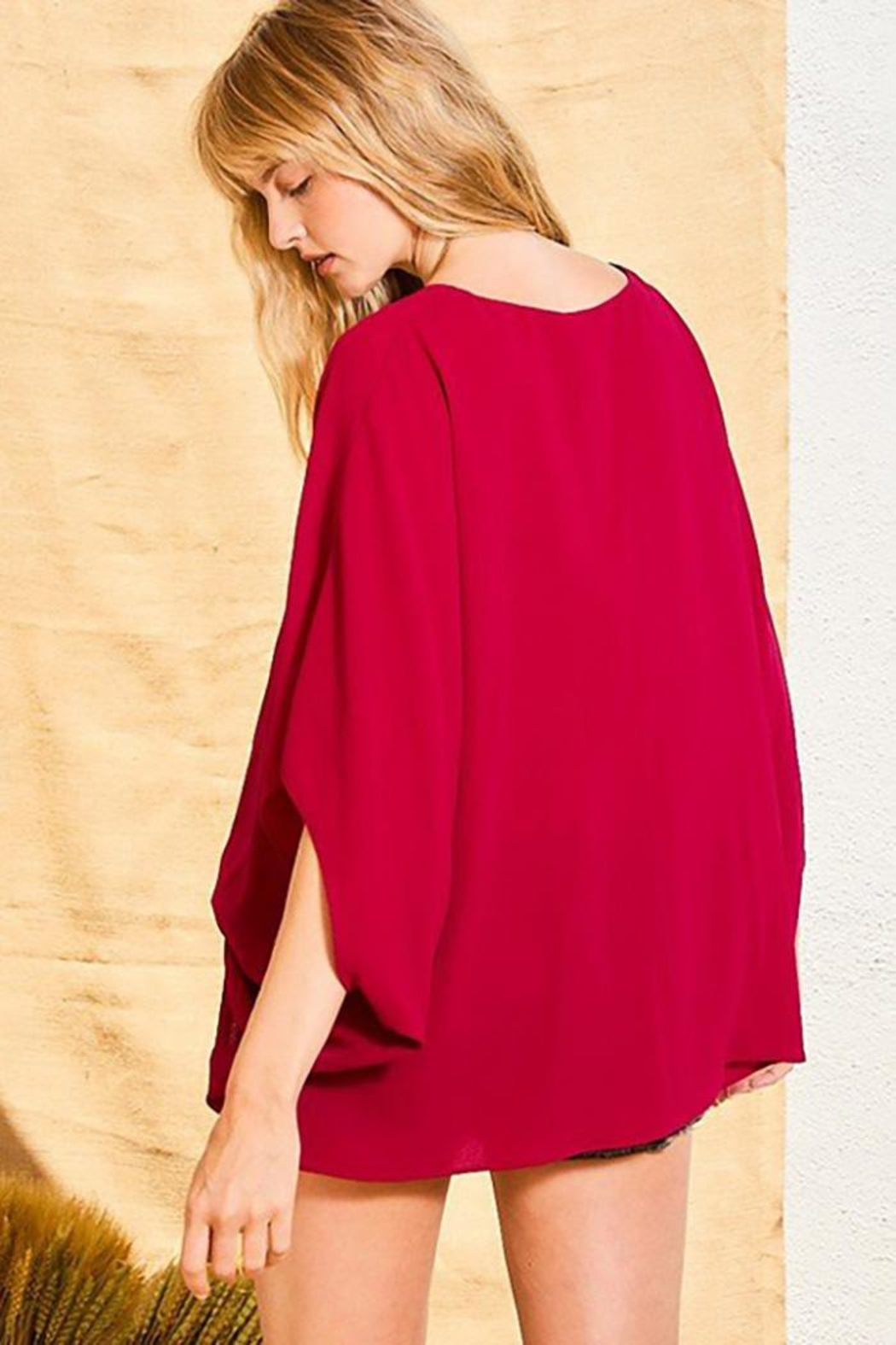 Main Strip Dolman Sleeves Front Waist Elastic Solid Top - Front Full Image