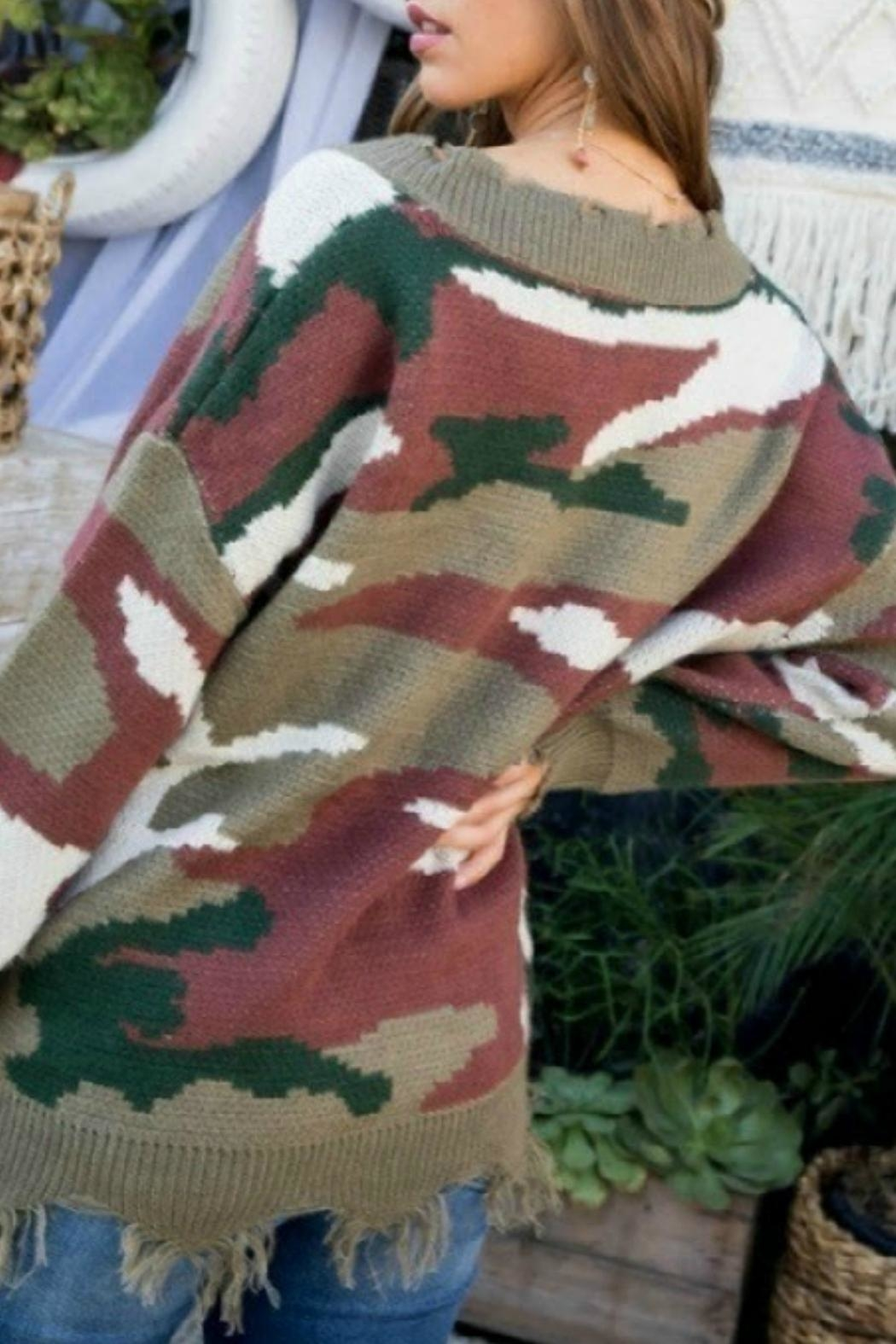 Main Strip Frayed Camo Sweater - Side Cropped Image