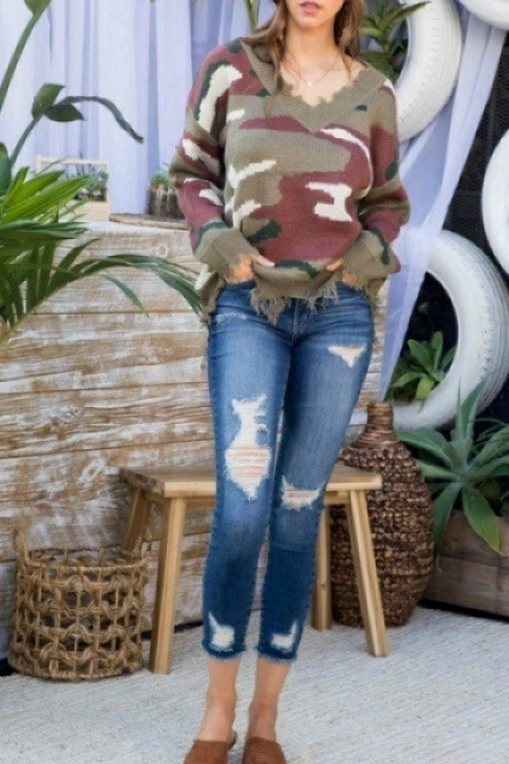 Main Strip Frayed Camo Sweater - Front Full Image