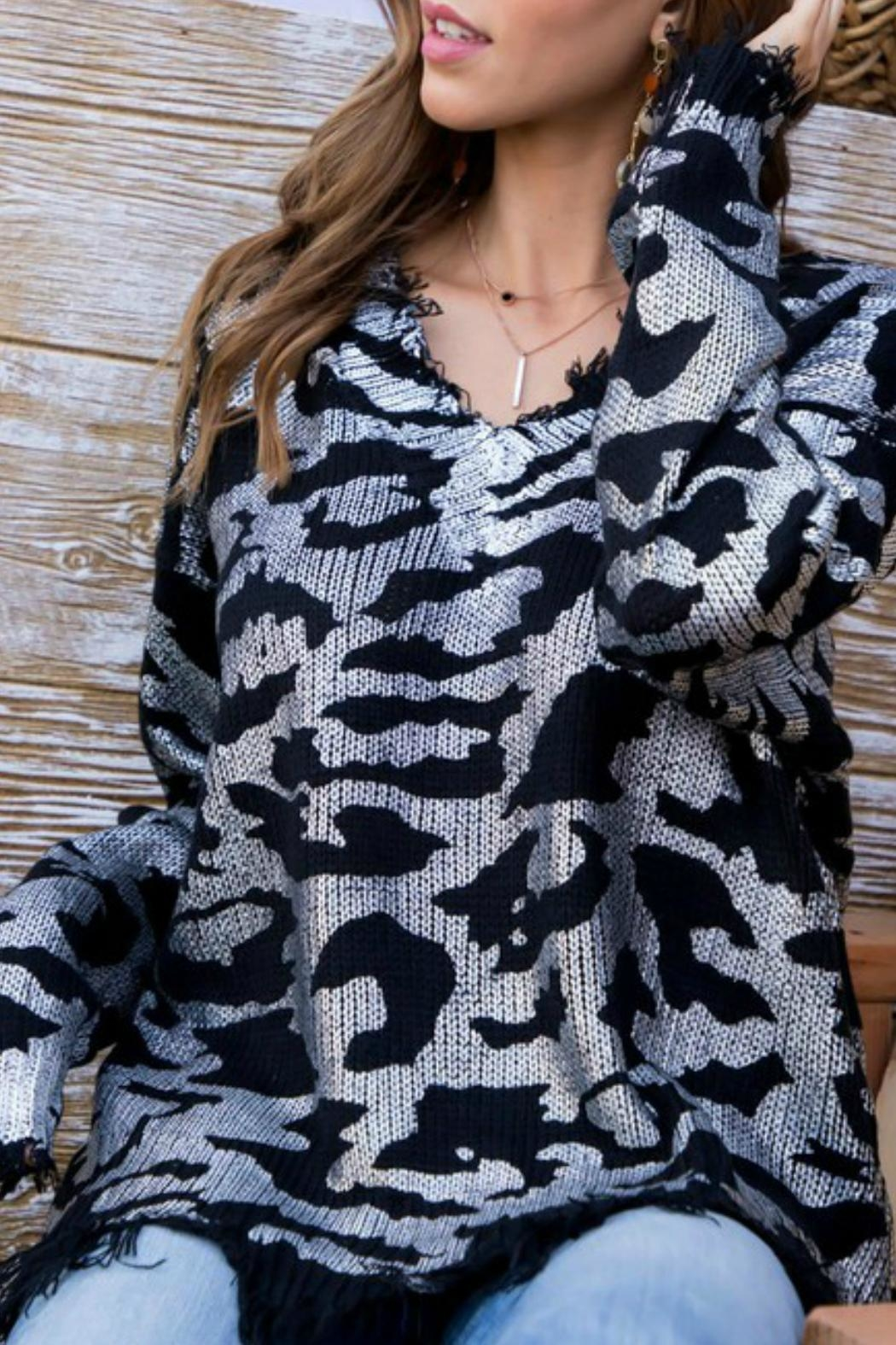 Main Strip Frayed Leopard Sweater - Front Full Image
