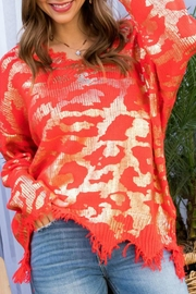 Main Strip Frayed Leopard Sweater - Front full body