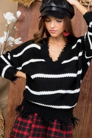 Main Strip Frayed V-Neck Sweater - Product Mini Image
