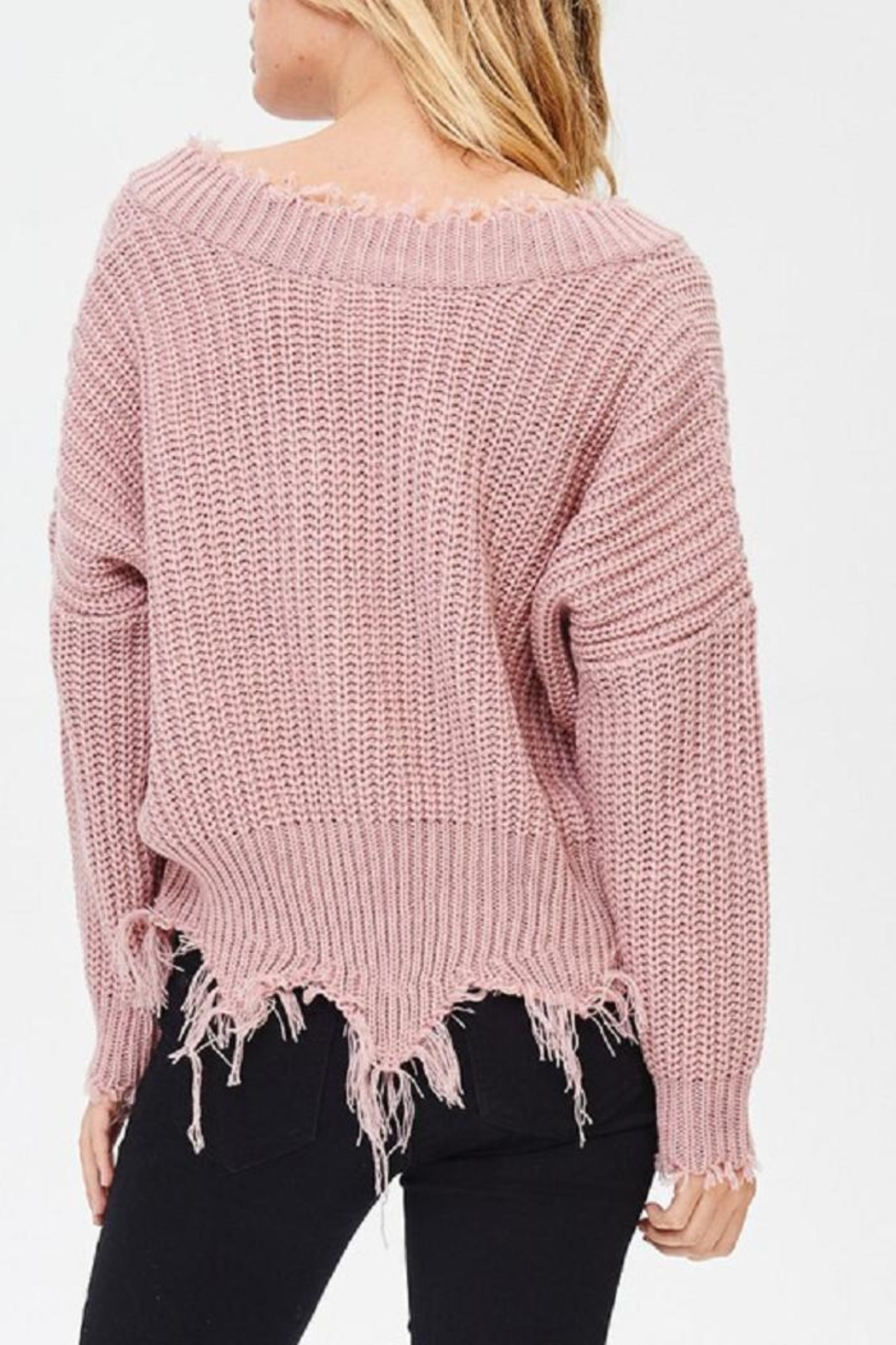 Main Strip Frayed V Neck Sweater - Front Full Image