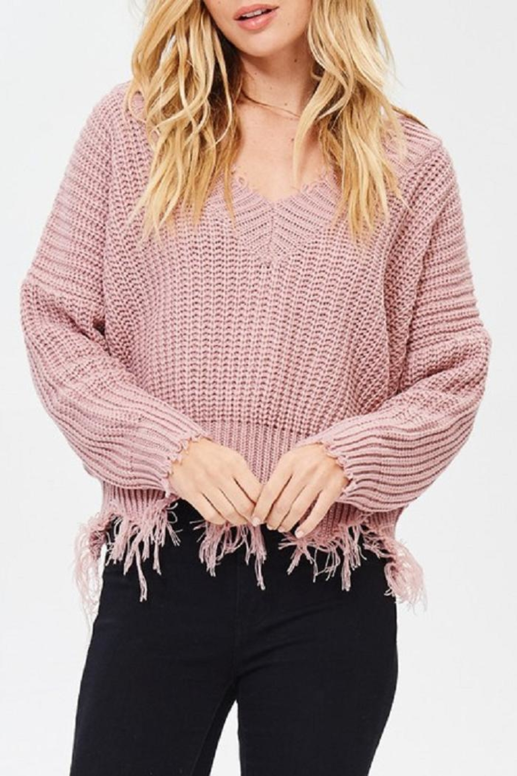 Main Strip Frayed V Neck Sweater - Front Cropped Image